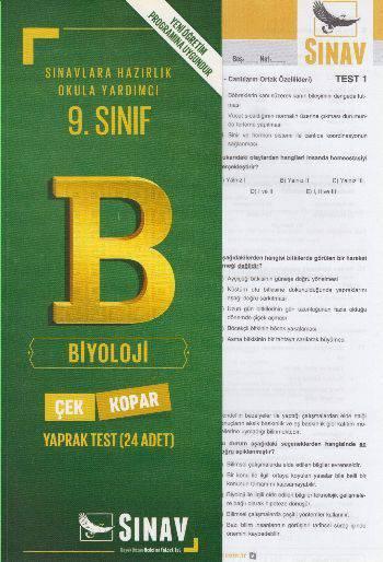 SINAV 9.SINIF BİYOLOJİ YAPRAK TEST