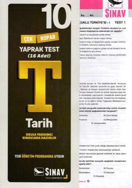 SINAV 10.SINIF TARİH YAPRAK TEST