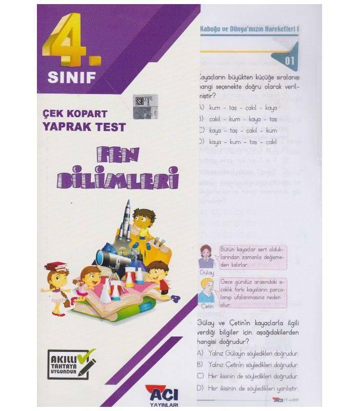 AÇI 4.SINIF FEN BİLİMLERİ ÇEK KOPAR YAPRAK TEST